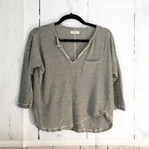 Madewell • Asymmetrical Olive Striped Crop